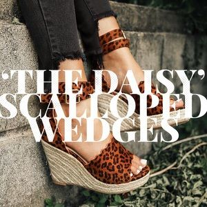 'The Daisy' Scalloped Wedge In Leopard Print